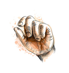 Hand showing size gesture from a splash vector