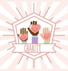 hands kawaii hearts retro emblem charity image vector image
