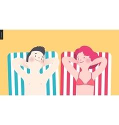 Happy couple sunbathing on the beach vector image vector image