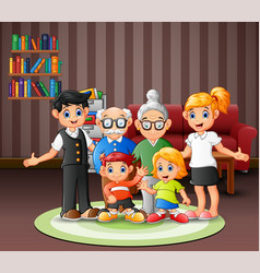 Happy family members in living room vector