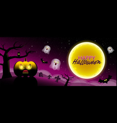 happy halloween type scary night backgrounds with vector image