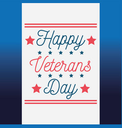 happy veterans day lettering greeting card blue vector image