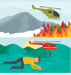 helicopter drone banner concept set flat style vector image