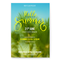 hello summer beach party flyer holidays events vector image