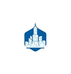 hexagon town logo icon design vector image