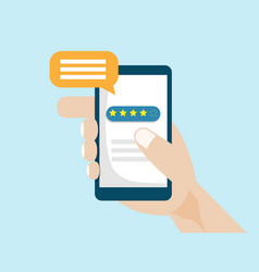 human hand with smartphone for online feedback vector image