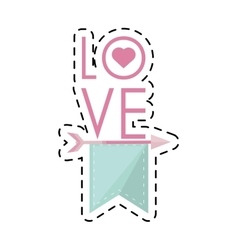 I love you greeting heart style cut line vector