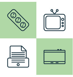 Icons set collection of extension cord printer vector