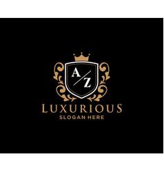 Initial az letter royal luxury logo template vector