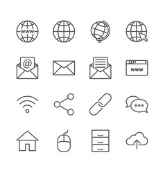 internet icon set line network symbol coll vector image
