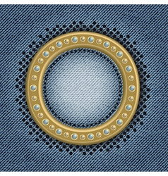 Jeans gold circle vector image