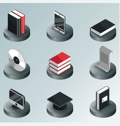 Library color isometric icons vector