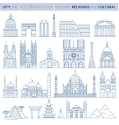 line set city landmarks vector image