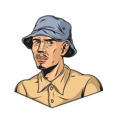 Man wearing shirt and panama hat vector