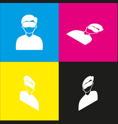 man with sleeping mask sign white icon vector image