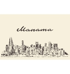 Manama skyline Bahrain drawn sketch vector image