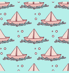 marine pattern with paper ship vector image