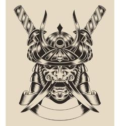 Mask warrior with swords vector