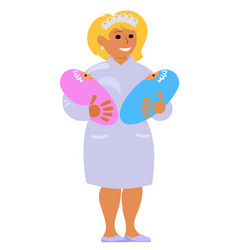 Maternity nurse holding two babies smiling vector