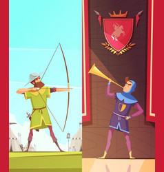 Medieval vertical cartoon banners set vector