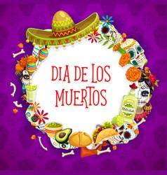 mexican dia des los muertos holiday attributes vector image