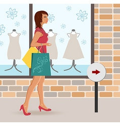 modern girl loaded with shopping bags vector image