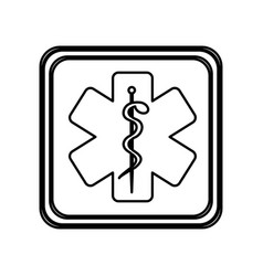 Monochrome contour of button with star of life vector