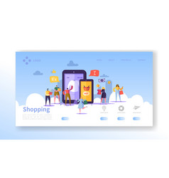 online shopping landing page people characters vector image