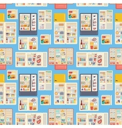 Open refrigerator products seamless pattern vector image