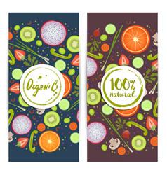 organic food vertical flyers set vector image