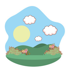 Outdoors landscape scenery cartoon vector