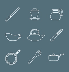 Outline design dinnerware icons set vector