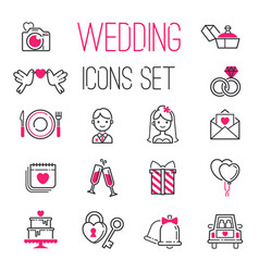 outline wedding day marriage icons set icons vector image