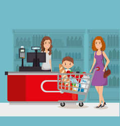 Person in supermarket payment point vector