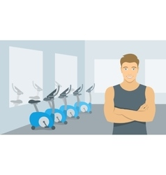 Personal fitness trainer man in gym vector