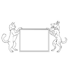 Pet cat and dog sign vector