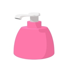 Pink plastic bottle with liquid soap cartoon icon vector image vector image