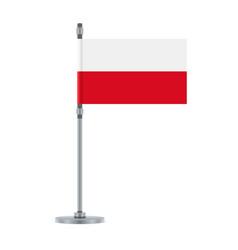 polish flag on the metallic pole vector image