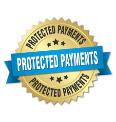 Protected payments round isolated gold badge vector