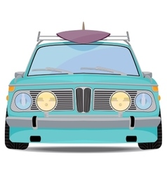 Retro car with a surfboard vector image
