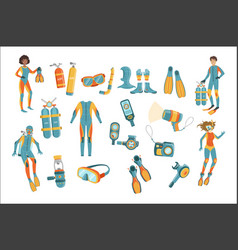 scuba diving gear set vector image