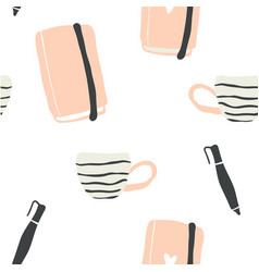 seamless pattern of hygge blogger elements vector image