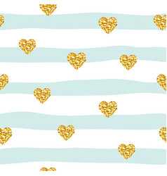 Seamless pattern with glitter confetti hearts on vector