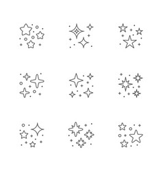 set icons star shine vector image