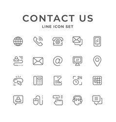 Set line icons of contact us vector