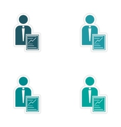 Set of stylish sticker on paper businessman and vector image