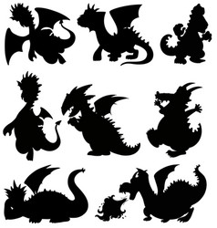 Set silhouette dragon on white background vector