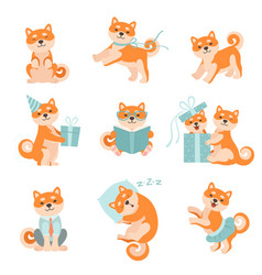 shiba inu dogs in different situations set vector image