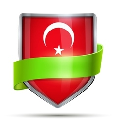 Shield with flag turkey and ribbon vector
