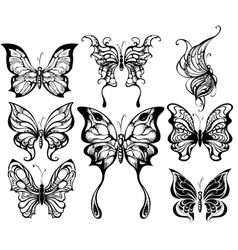 silhouettes of exotic butterflies vector image